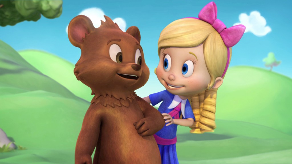 """GOLDIE & BEAR - """"Goldie & Bear,"""" a fairy tale-inspired adventure series for preschoolers premiering in Fall 2015, follows the fairytale adventures of newfound friends Goldie and Bear, following the renowned porridge incident of """"Goldilocks and The Three Bears."""" (Disney Junior) BEAR, GOLDIE"""